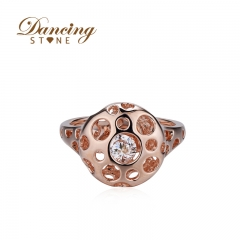 Dancingstone Romantic Wedding SW Crystal Rings Rose Gold Plated Plated Big Zircon Womens Fashion Jewellery Ring 01J-2027-R