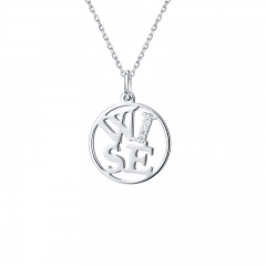 """Wise""  Four Letter Word necklaces 925 sliver necklace Round  Accessories LC-0193"