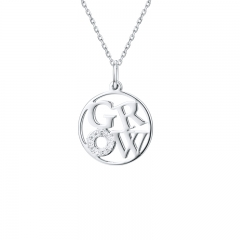 """Grow""  Four Letter Word necklaces 925 sliver  CZ Round  jewelry LC-0191"
