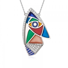 01 Jewelry Enamel Coolection 925 Silver Picasso Pendant 01J-2802