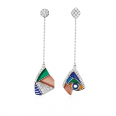 01 Jewelry Enamel Coolection 925 Silver Picasso Earring 01J-2802-E